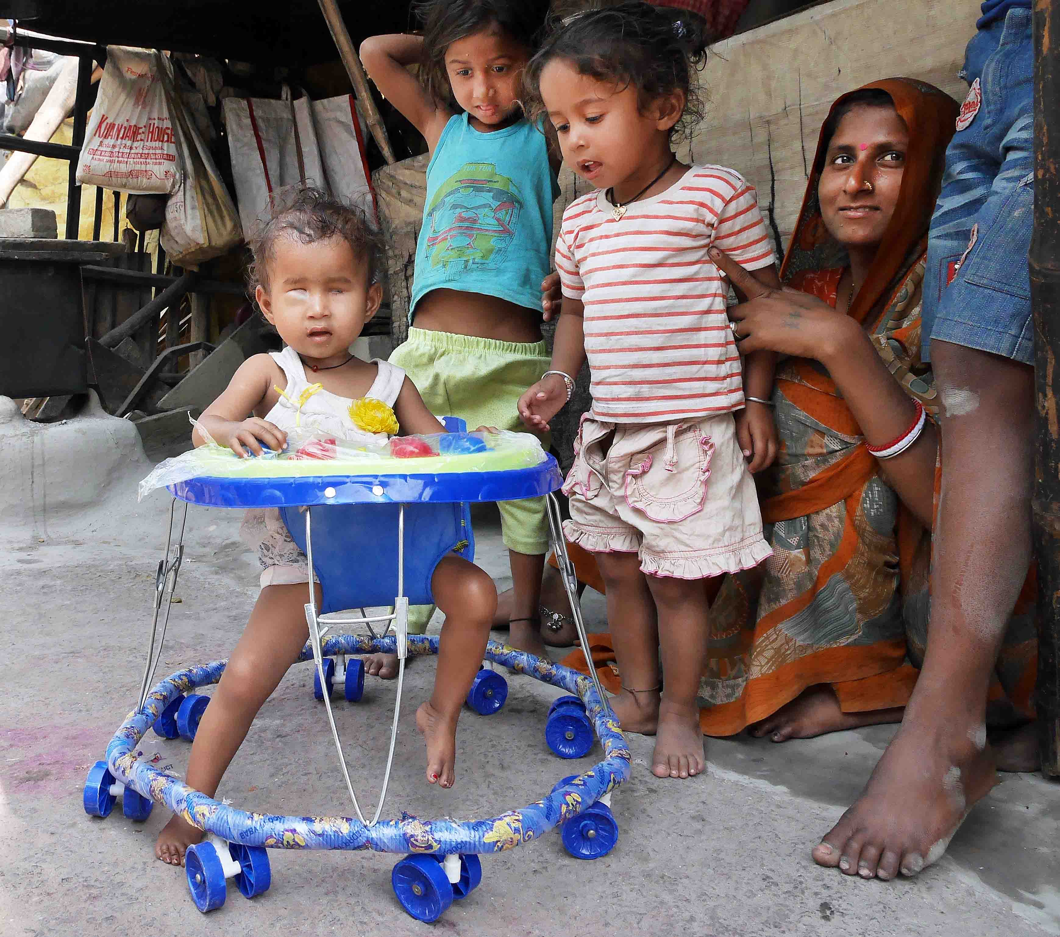 We bought a walker. Everyone was pleased, especially Jyoti who enjoyed the new independence and the noise-making buttons in front of her.